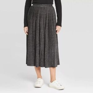 A New Day Pleated Metallic Skirt